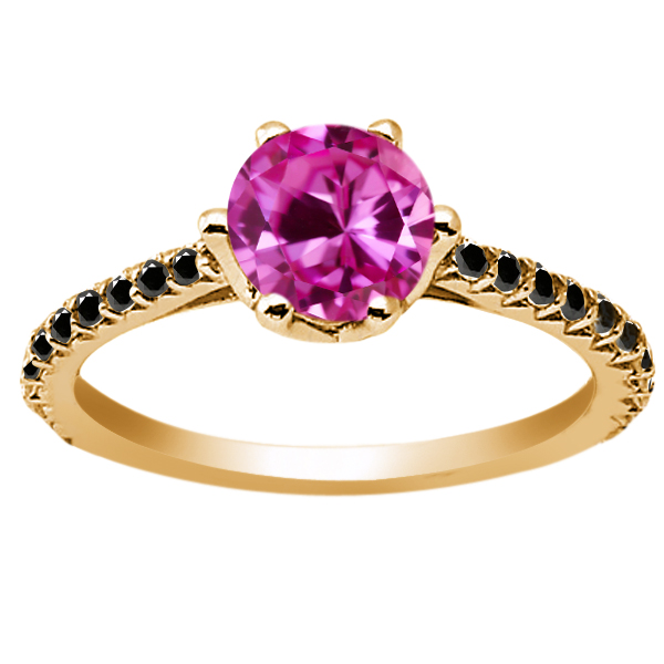 1.37 Ct Pink Created Sapphire Black Diamond 925 Yellow Gold Plated Silver Ring by