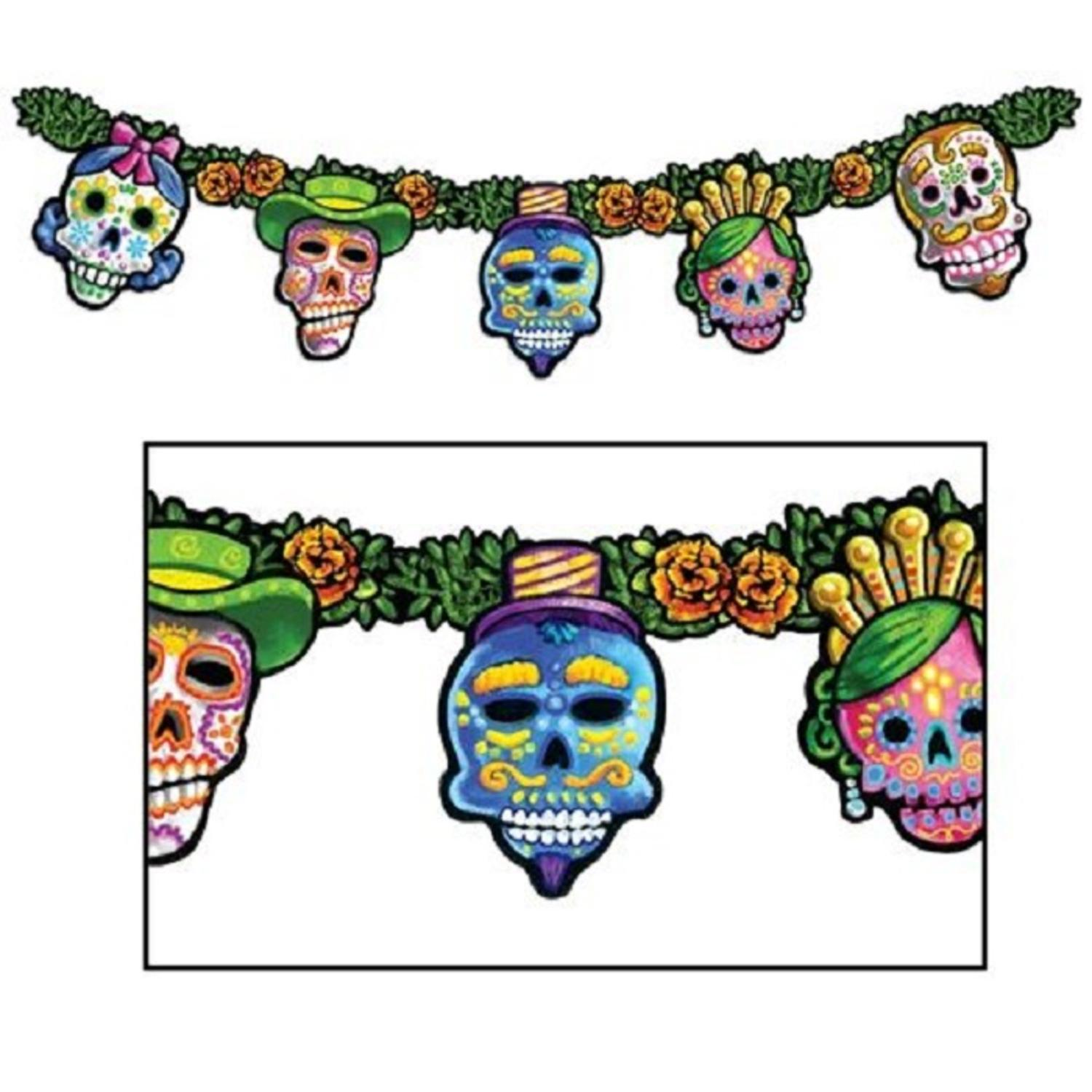 Club Pack of 12 Day Of The Dead Jointed Streamer Halloween Party Decorations 4.5'
