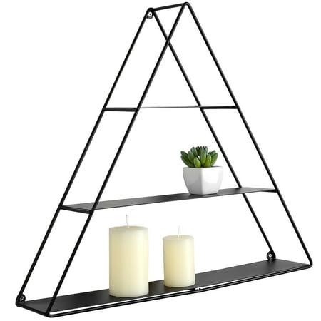 - 3 Tier Triangular Matte Black Metal Display Shelf, Wall Mounted Pyramid Rack