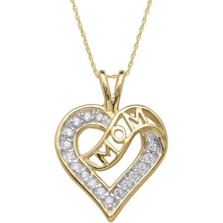 Believe By Brilliance Cz 10Kt Yellow Gold Heart Mom Pendant  18