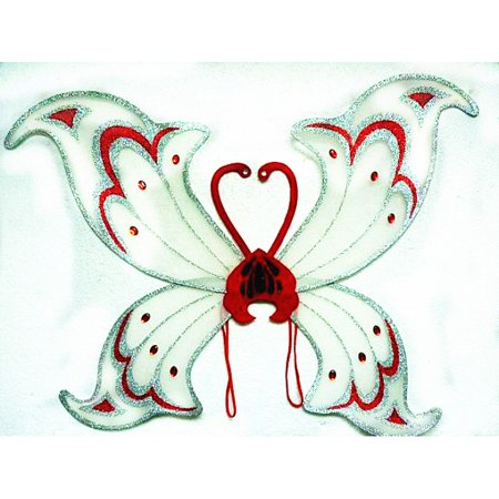 Adult Giant White/Red Devil Wings