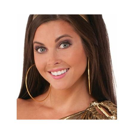 Womens 70s Glamour Diva Disco Fever Big Hoop Earrings Costume Accessory