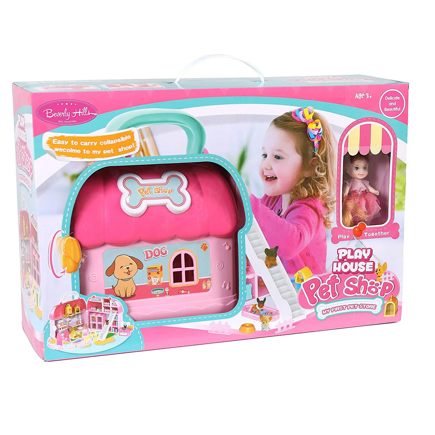 and Doll Fully Furnished 50 Piece Dollhouse Set with Accessories Beverly Hills Boutique Clothing Shop in a Take Along Carry Case