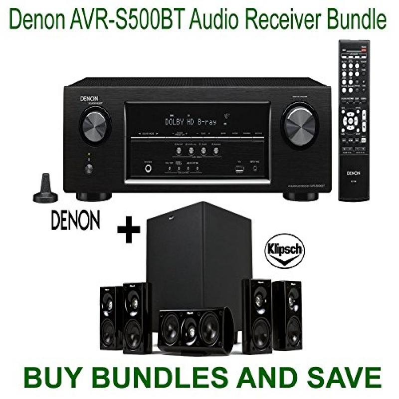 Denon AVR-S500BT 5.2 Channel Full 4K Ultra HD A/V Receiver with Bluetooth + Klipsch HDT-600 Home Theater System Bundle