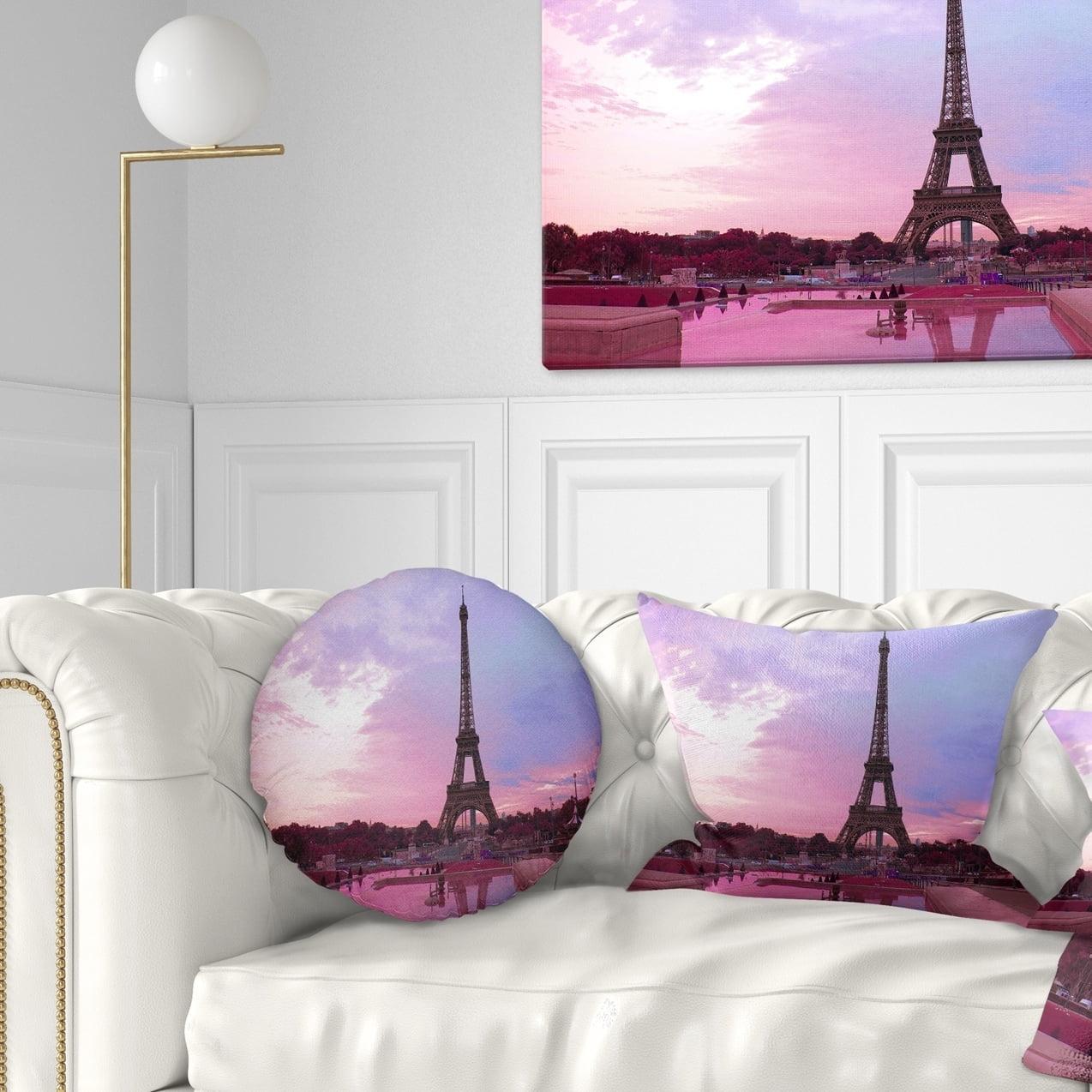 Designart CU9266-20-20-C Paris Eiffel Towerin Purple Tone Landscape Photography Throw Pillow 20