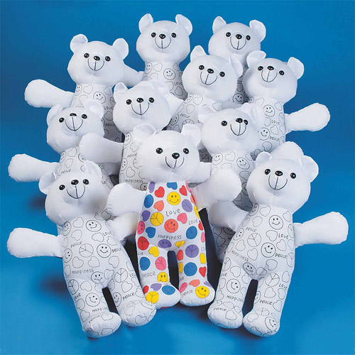 Color Me Teddy Bears, Pack of 12 by S&S