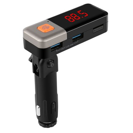 iSunnao Bluetooth MP3 Player FM Transmitter - Dual USB Car Charger with Aux Port - Perfect for Smartphones iPhone Samsung Motorola LG HTC