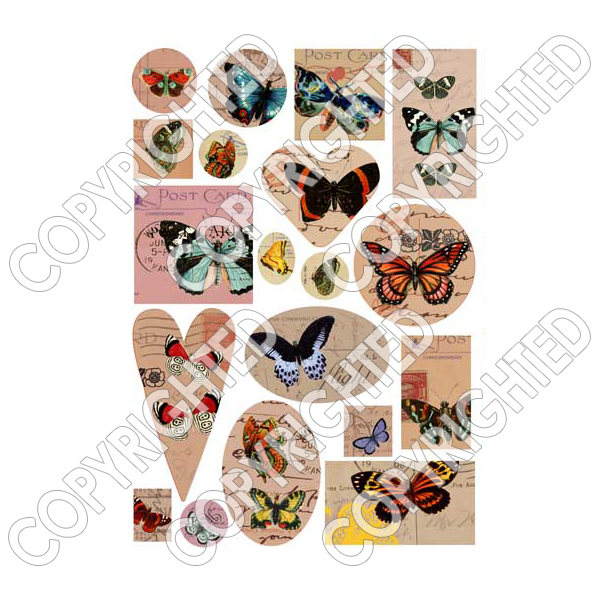 Nunn Design Collage Sheet Various Butterflies For Scrapbook - Fits Patera