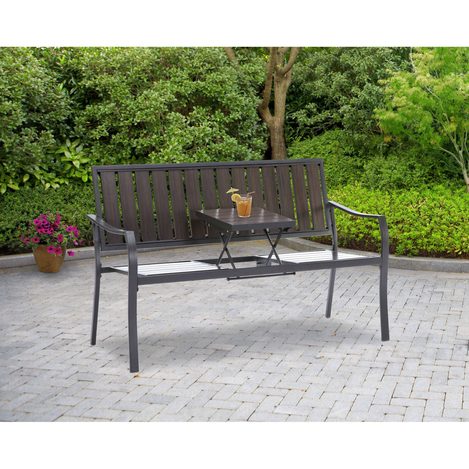 bcp 50 patio garden bench park yard outdoor furniture steel frame porch chair walmartcom - Garden Furniture Steel