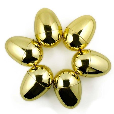 Set of 6 Very Shiny Golden Plastic Easter Eggs 2.25 Inches - Large Easter Eggs