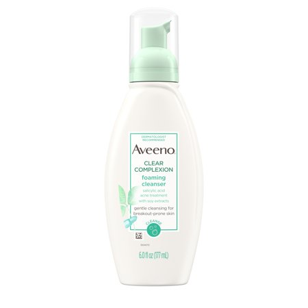 Aveeno Clear Complexion Foaming Facial Cleanser with Soy, 6 fl. (White Facial Foam)