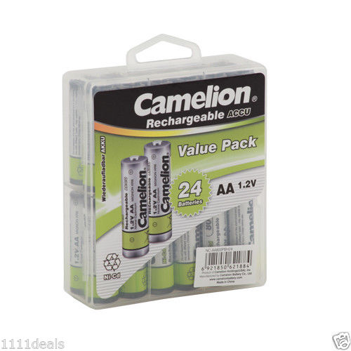 Camelion AA Rechargeable NiCD Batteries 800mAH 24 Pack  + FREE SHIPPING!