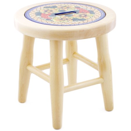Polish Pottery 12-inch Stool (Colorful Bouquet Theme) Signature UNIKAT Hand Painted in Boleslawiec, Poland + Certificate of Authenticity ()