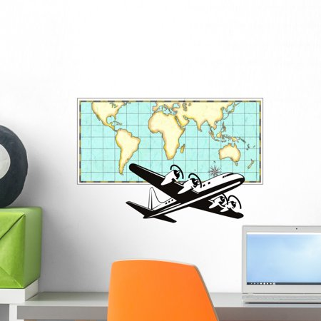 Airplane with world map wall mural by wallmonkeys peel and stick airplane with world map wall mural by wallmonkeys peel and stick graphic 18 in w gumiabroncs Images