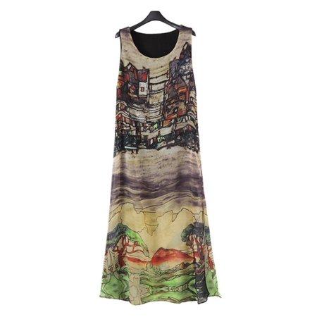 Womens Dress Summer O-Neck Boho Sleeveless Floral Printed Beach Mini Dress Casual Vintage Short Dress