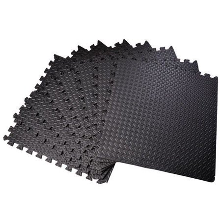 "HOMCOM Exercise Interlocking Protective Flooring - 24"" x 24"" x 3/8"" Tiles - Black Diamond Plate"
