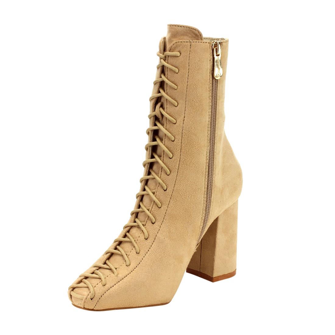 GD77 Women's Lace-Up Size Zipper Block Heel Ankle Booties