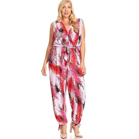 252a0039d962 Fourever Funky - Rue21+ Red Pink Abstract Sleeveless Plus Size Harem  Jumpsuit Romper U.S.A - 3X - Walmart.com