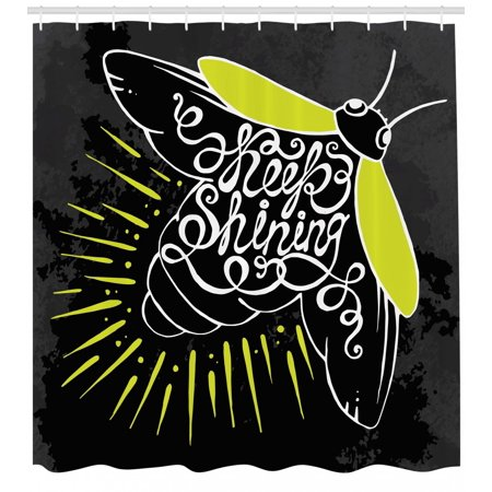 Firefly Shower Curtain, Beetle with Keep Shining Calligraphy on the Wings Motivation Art, Fabric Bathroom Set with Hooks, 69W X 84L Inches Extra Long, Yellow Green Dark Blue Grey, by - Firefly Wings