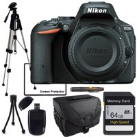 Nikon D5500 Body Only, Full Size Tripod, 64GB SD Card, Cleaning Pen, Card Reader, Table Top Tripod, lens Cleaning Kit