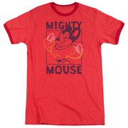 Mighty Mouse Break The Box Mens Adult Heather Ringer Shirt