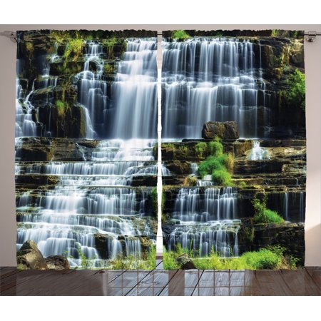 Rainforest Decorations Curtains 2 Panels Set Waterfall In