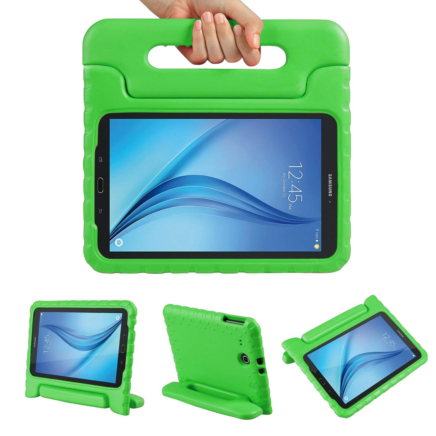 Galaxy Tab E 9.6 Case, Allytech Dynamo Case for Samsung Galaxy Tab E 9.6 | Shock Proof Heavy Duty Kidproof Cover for Kids | Girls, Boys | Kid Friendly Handle & Stand | Samsung SM-T560 T561, Green