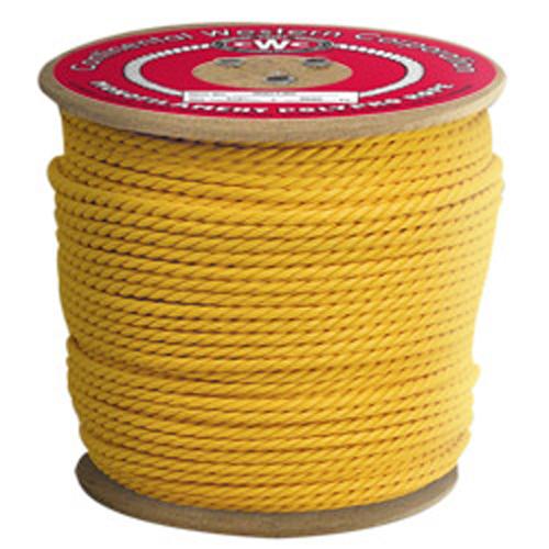 "CWC 3-Strand Polypropylene Rope - 1/4"" x 1200 ft., Yellow"