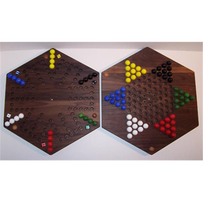 THE PUZZLE-MAN TOYS W-1965 Wooden Marble Game Board - (2 Games In 1) - 18 in. Hexagon - Aggravation 6-Player 5-Hole & Chinese Checkers - Walnut