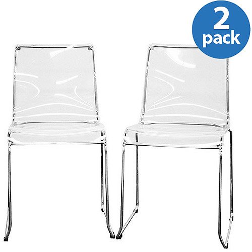 Baxton Studio Lino Transparent Acrylic Dining Chairs, Set Of 2