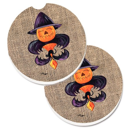 Halloween Pumpkin Bat Fleur de lis Set of 2 Cup Holder Car Coasters 8748CARC