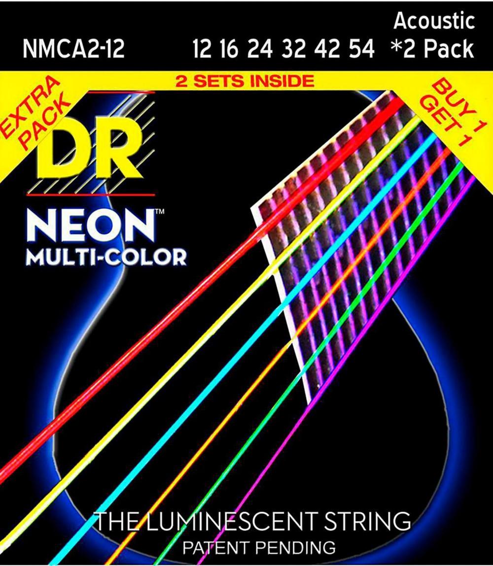 DR Strings Hi-Def NEON Multi-Color Medium Acoustic Guitar Strings (12-54) 2 Pack by DR Strings
