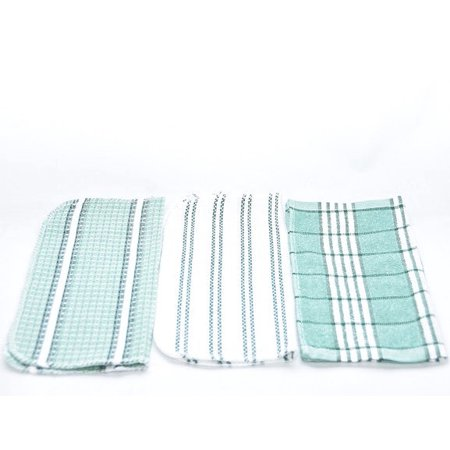 Gold Coast 15 Pieces Waffle Woven Terry Dish Towel Set in Green