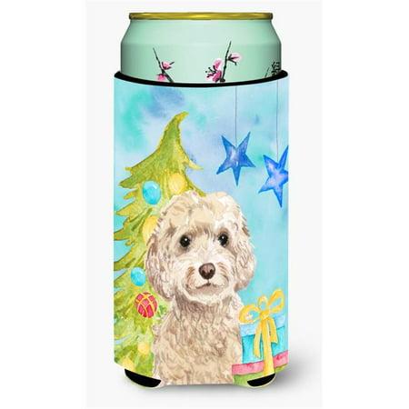 Champagne Cockapoo Christmas Tall Boys Beverage Insulator Hugger