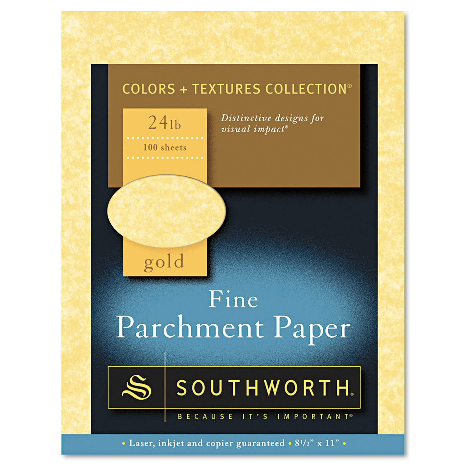 Southworth Parchment Specialty Paper, Gold, 24lb, 8 1/2 x 11, 100 Sheets -SOUP994CK336