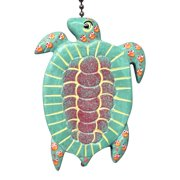 Whimsical Green Sea Turtle Ceiling Fan Light Pull Hand Carved Wood
