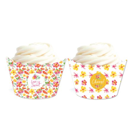 Tropical Floral Garden Party Wedding, Cupcake Wrappers, 20-Pack - Tropical Cupcakes