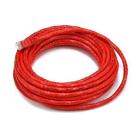 25FT 24AWG Cat6 500MHz Crossover Bare Copper Ethernet Network Cable - Red (2385)