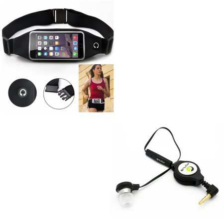 Black Sports Running Workout Waist Bag Belt Case w Retractable Headset MONO Hands-free Earphone w Mic W5A for Kyocera Hydro Wave, DuraForce Pro 2 - Lenovo A7000 - LG Fortune, Harmony, G5