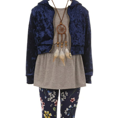 Little Girls Hoodie Sleeveless Top Floral Legging Pants Necklace Clothing Set Navy Blue 4 (2J0K9S9)