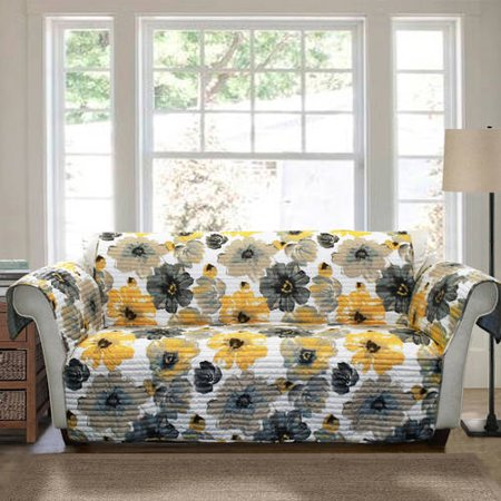 Leah furniture protector, yellow and gray Sofa Couch Cover