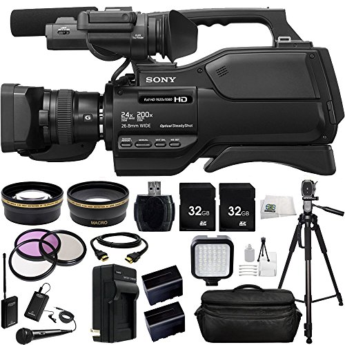 Sony HXR-MC2500 HXRMC2500 Shoulder Mount AVCHD Camcorder with 3-Inch LCD (Black) + Audio-Technica ATR288W VHF TwinMic Sy