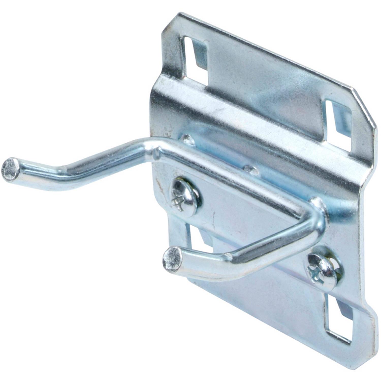 """LocHook 1"""" Double Rod 30-Degree Bend 3/16""""D Zinc Plated Steel Pegboard Hook for LocBoard, 5pk"""