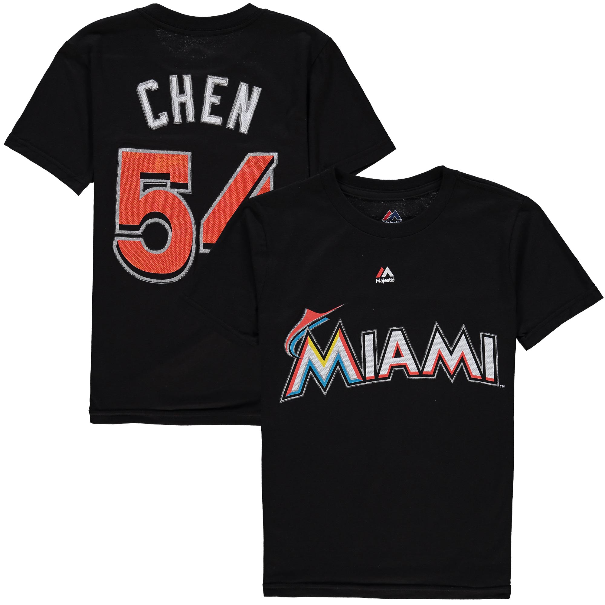 Wei-Yin Chen Miami Marlins Majestic Youth Player Name & Number T-Shirt - Black