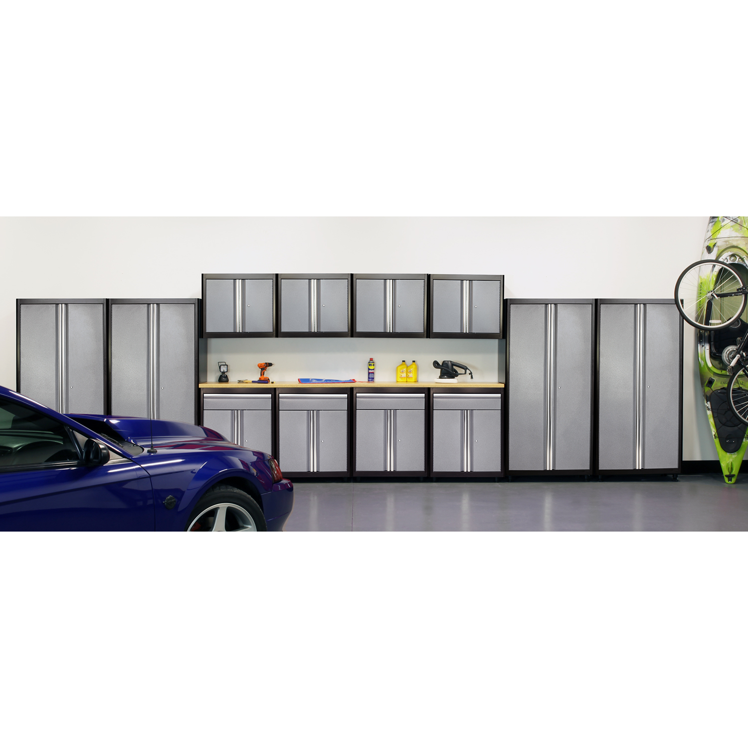 75 in. H x 264 in. W x 18 in. D Welded Steel Garage Storage System in Black/Multi-Granite (14-Piece)