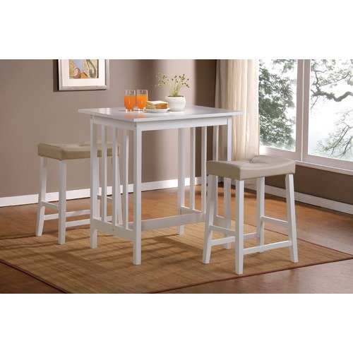 World Imports Furnishings 3 Piece Counter Height Bar Table Set in White