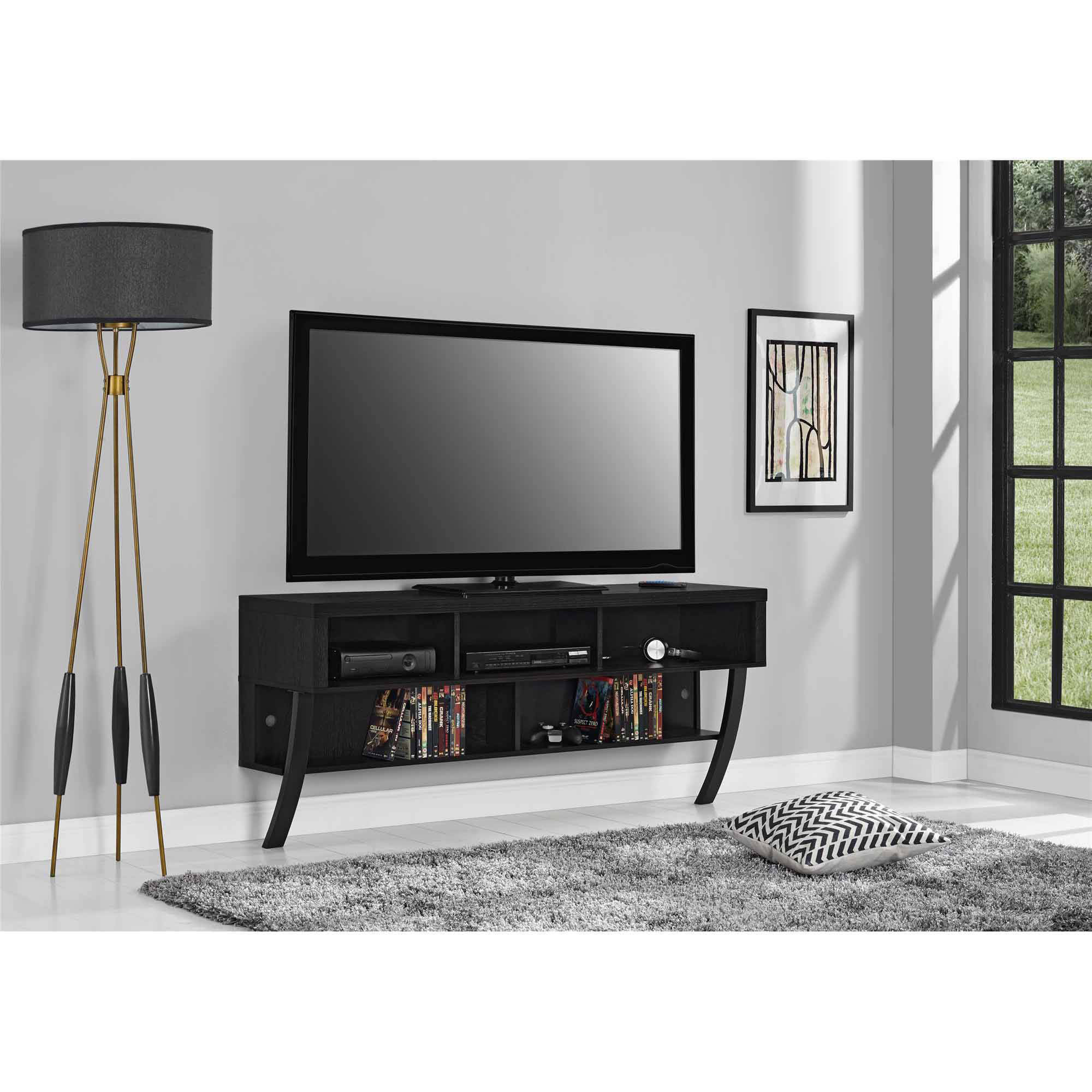 "Altra Asher Wall Mounted 65"" TV Stand, Black Oak"