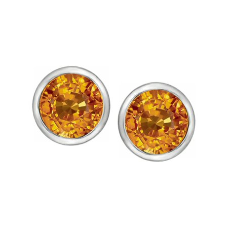 7mm Round Simulated Imperial Yellow Topaz Earrings Studs In Sterling Silver