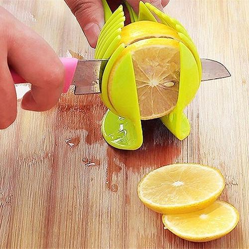 Girl12Queen Home Kitchen Tool Clip Slicer Holder Fruit Vegetable Round Cutter Splits Pitter