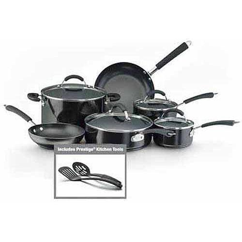 Farberware Millennium Colors Nonstick Aluminum 12-Piece Cookware Set, Black